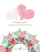 Wedding invitation decorated with lace hearts and watercolor wild roses — Stock Vector