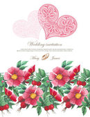 Wedding invitation decorated with lace hearts and watercolor wild roses — Cтоковый вектор