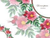 Wedding invitation decorated with watercolor wild roses — Cтоковый вектор