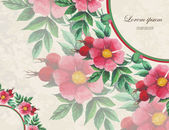 Wedding invitation decorated with watercolor wild roses — Stok Vektör