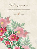 Wedding invitation decorated with watercolor wild roses — 图库矢量图片