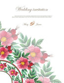 Wedding invitation decorated with lace hearts and watercolor wild roses — Stok Vektör