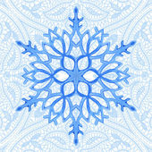 Seamless pattern with watercolor blue snowflake and lace — Stock Vector