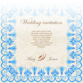 Wedding invitation decorated with lace and watercolor ancient greek pattern — Stock Vector