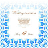 Wedding invitation decorated with lace and watercolor ancient greek pattern — Vector de stock
