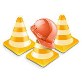 Vector traffic cones with helm — Stock Vector
