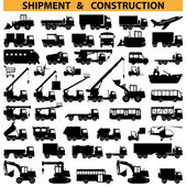 Vector commercial vehicles pictograms — Stock Vector