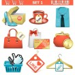 Stock Vector: Vector shopping icons set 1