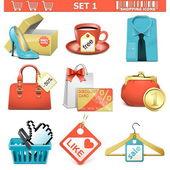 Vector shopping icons set 1 — Stock Vector