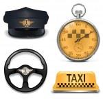 Vector Retro Taxi Icons — Stock Vector