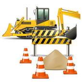 вектор строительных машин с барьером — Cтоковый вектор