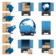 Vector Shipment Trucks Icons set 3 — Stock Vector