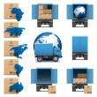 Vector Shipment Trucks Icons set 3 — Stock Vector #30795141