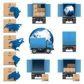 Vector Shipment Trucks Icons set 3 — Stock Vector