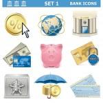 Vector Bank Icons Set 1 — Stock Vector #31203039
