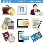 Vector Bank Icons Set 2 — Stock Vector