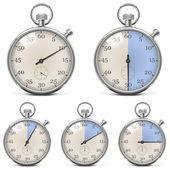 Vector Retro Stopwatch Set — Stock Vector