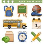 Vettore scuola icone set 1 — Vettoriale Stock