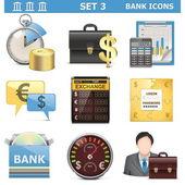 3 set vektör banka simgeleri — Stok Vektör