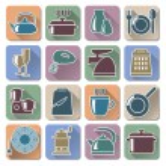 Vector Kitchenware Retro Flat Icons — Stock Vector