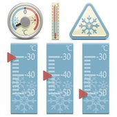 Vector Thermometer and Snow Sign — Stock Vector
