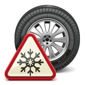 Vector Winter Tire with Sign — Stock Vector