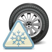 Vector Wheel with Snowflake Sign — Stockvector