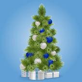 Vector Christmas Snowy Tree — Stock Vector