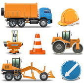Vector Road Construction Icons — Stock Vector