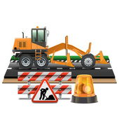 Vector Road Construction with Grader — Stock Vector