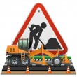 Vector Road Construction Concept with Sign — Stock Vector #40142377