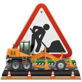 Vector Road Construction Concept with Sign — Stock Vector