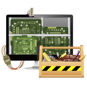 ツールボックスとベクトル コンピューターの修復 — ストックベクタ