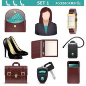 Vector Female Accessories Set 1 isolated on white background — Stock Vector