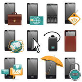 Vector Mobile Phone Icons — Stock Vector