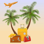 Vector Travel Concept with Palm — Stock Vector