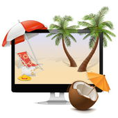 Vector Computer with Tropical Resort — Stock Vector