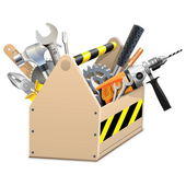 Vector Wooden Box with Tools — Vettoriale Stock