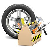 Vector Wheel with Toolbox — 图库矢量图片