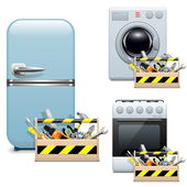 Vector Household Appliance Repair Icons — Stock Vector