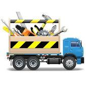Vector Toolbox and Truck — Stock Vector