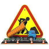 Vector Road Construction Concept with Truck — Stock Vector