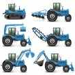 Vector Agricultural Tractor Set 1 — Stock Vector #45322101