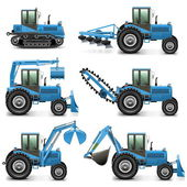 Vector Agricultural Tractor Set 1 — Stock Vector