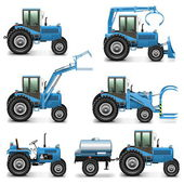 Vector Agricultural Tractor Set 2 — Stock Vector