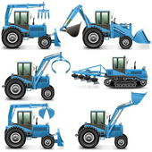 Vector Agricultural Tractor Set 3 — Stock Vector