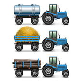 Vector Agricultural Tractor Set 4 — Stock Vector