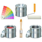 Vector Paint Can and Brush Icons — Vector de stock