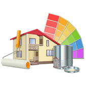 Vector Painting Concept with House — Stock Vector