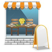 Vector Cafe with Billboard — Stock Vector